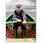 Man in Boat, 2001 (oil on panel) - Retratos