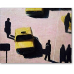 New York Taxis, 1990 (acrylic on canvas) - Arte Contemporáneo