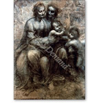 The Virgin and Child with SS. Anne and John the Baptist, c.1499 (charcoal, chalk on paper) (see detail 99053) - Desnudos