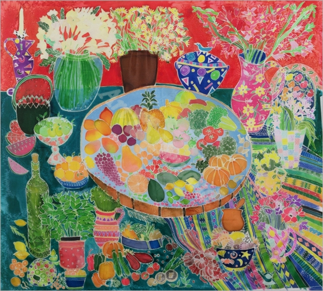 Guatemalan Table, 1995 (coloured inks on silk) - Simon, Hilary