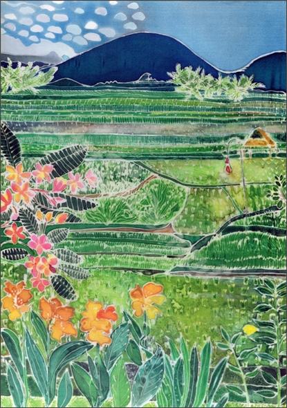 Lovina Ricefields with Lilies and Frangipani, Bali, 1996 (coloured inks on silk)  - Simon, Hilary