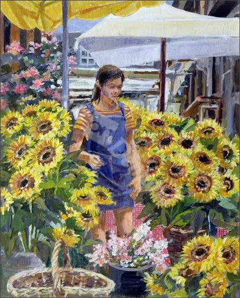 The Sunflower Seller (oil on canvas) - Lowndes, Rosemary