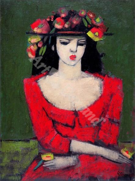 Fleur (oil on canvas) - Roder, Endre