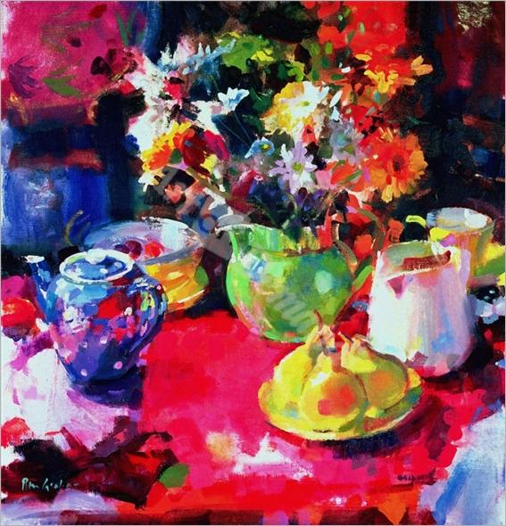 Three Pears (oil on canvas) - Graham, Peter