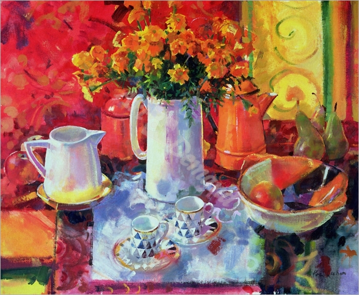 Table Reflections (oil on canvas) - Graham, Peter