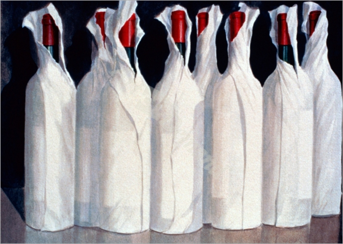 Wrapped Wine Bottles, Number 1, 1995 (acrylic on paper) - Seligman, Lincoln