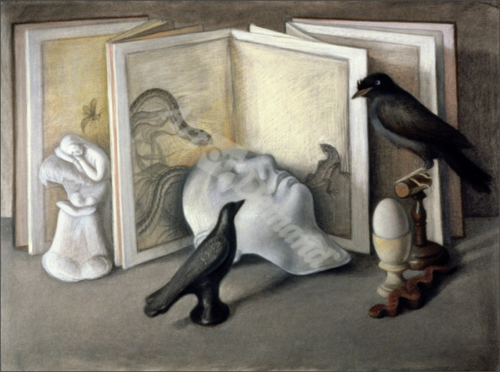 Guardians of Sleep (chalk, conte and pastel on paper) - Levine, Tomar
