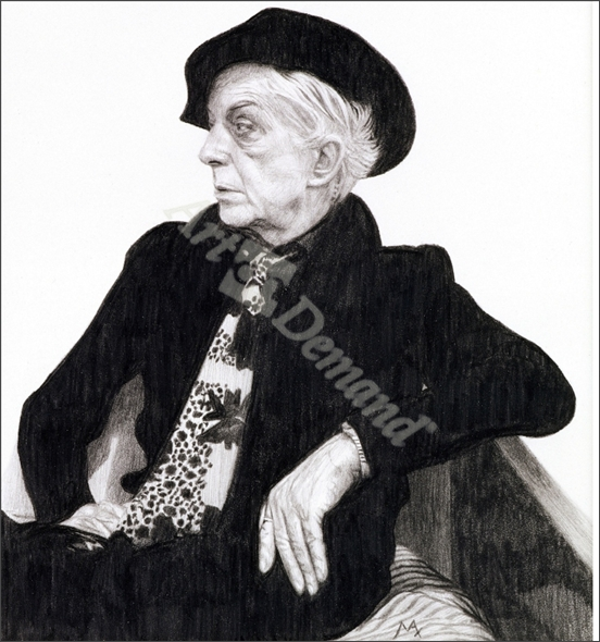 Quentin Crisp (1908-99), 2000 (graphite on paper) - Ferguson, Max