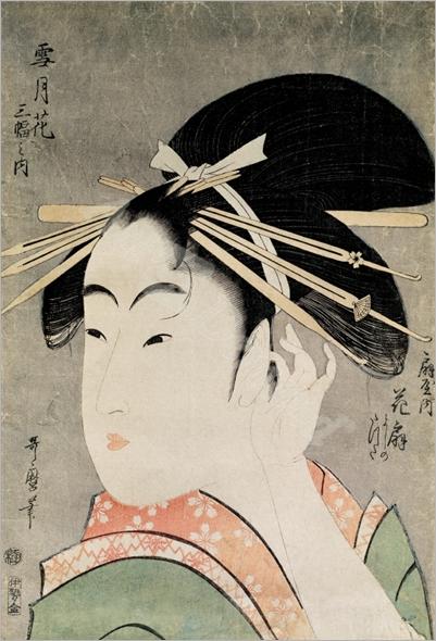 Cabeza de mujer - Utamaro, Kitagawa