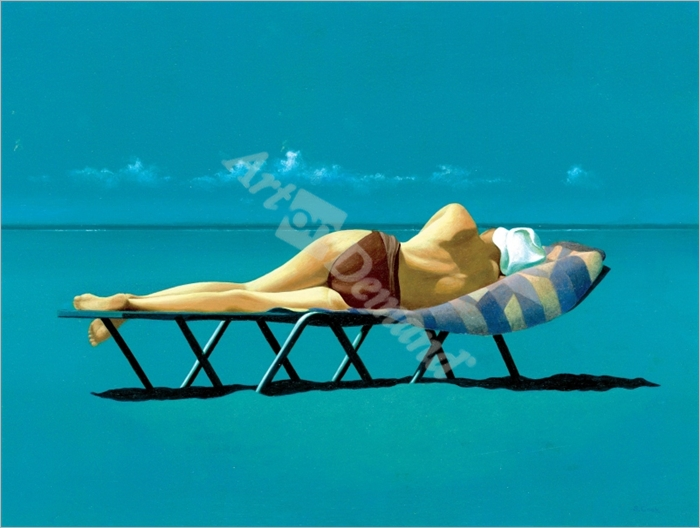 Sunbather (oil on canvas) - Cook, Simon