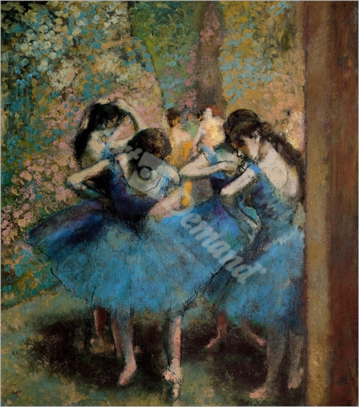 Dancers in blue, 1890 (oil on canvas) - DEGAS, EDGAR