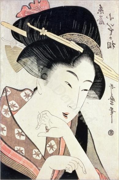 Bust portrait of the heroine Kioto of the Itoya - Utamaro, Kitagawa
