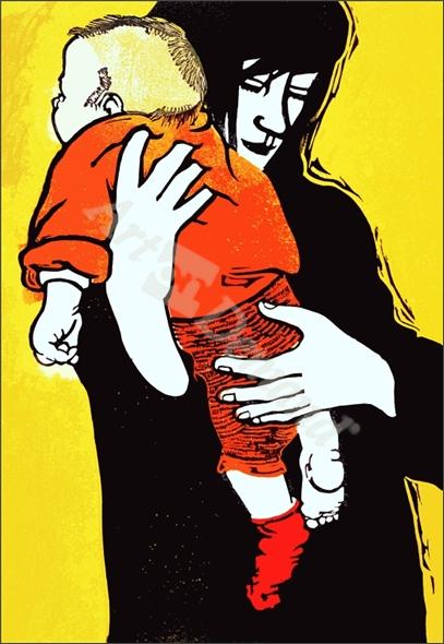 Red Sock, 1991 (linocut) - Walklin, Carol
