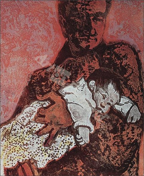 New Baby, Essen (relief etching) - Walklin, Carol