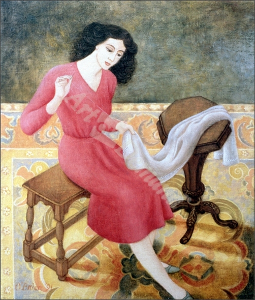 Girl Sewing, 1991 - O Brien, Patricia