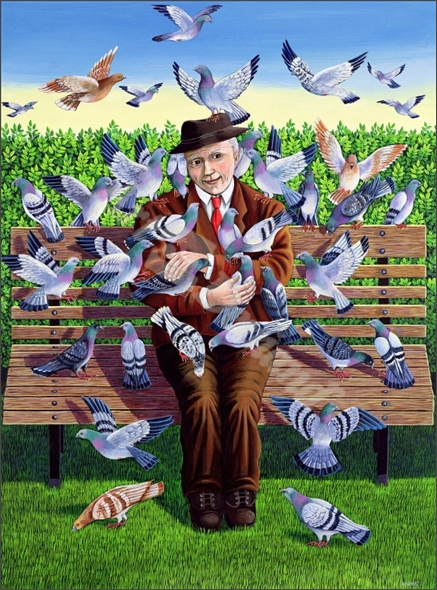 The Pigeon Fancier , 1993 (acrylic on paper) - Wright, Liz