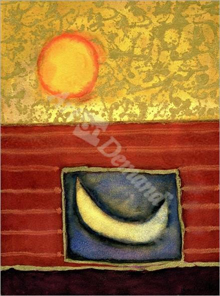 The Sun Rises While the Moon Sleeps, 1990 (mixed media on - Davidson, Pete