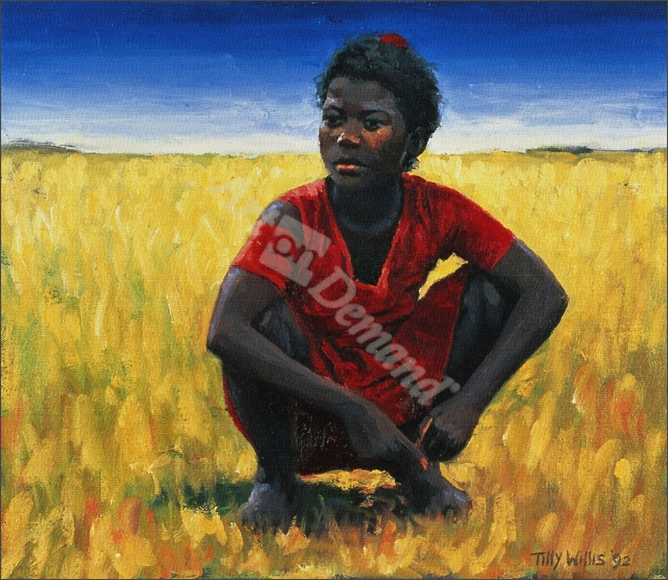 Girl in Red, 1992 (oil on canvas) - Willis, Tilly
