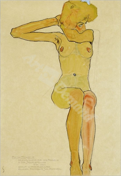 Seated female nude with raised right arm - SCHIELE, Egon