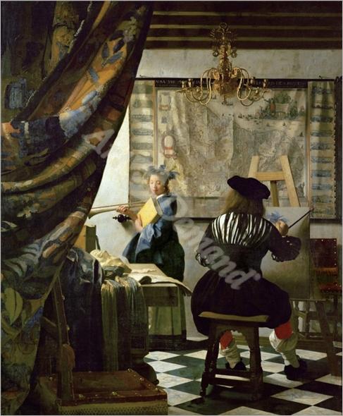 The painter (Vermeer s self-portrait) and his model as Klio - VERMEER, Johannes