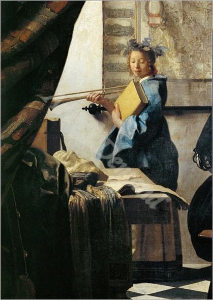 The painter (Vermeer s self-portrait) and his model as Klio. The Model - VERMEER, Johannes
